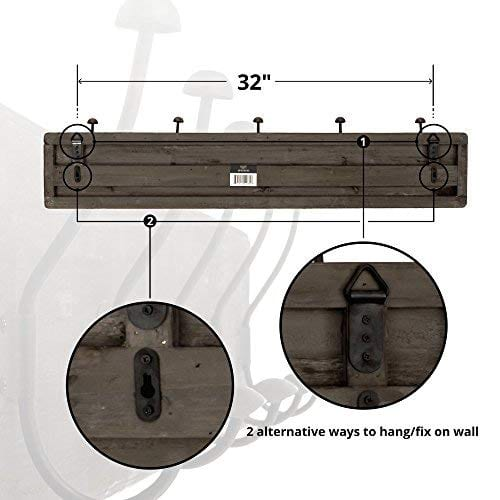 AVIGNON HOME Rustic Coat Rack With Hooks Vintage Wooden Wall Mounted Coat Rack 38 Inches Wide And 7 Inches High For Entryway Bathroom And Closet 0 1
