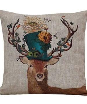 Aeneontrue Cotton Linen Deer Print Decorative Throw Pillow Cover 18 X 18 Inch Home Decor Cushion Cover Case Square 0 300x360