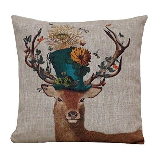 Aeneontrue Cotton Linen Deer Print Decorative Throw Pillow Cover 18 X 18 Inch Home Decor Cushion Cover Case Square 0