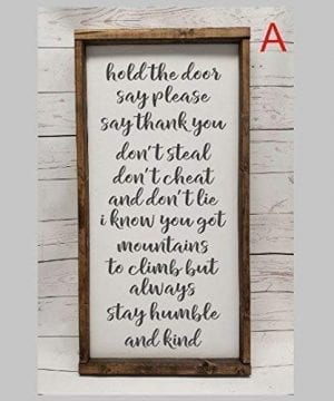Always Stay Humble And Kind Farmhouse Sign Fixer Upper Style Chunky Framed Hand Painted Master Bedroom Decor 0 0 300x360