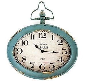 Antique Blue Oval Metal Wall Clock With Top Handle 0 300x281