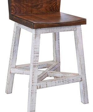 Anton Farmhouse Solid Wood Distressed White 24 Inch Breakfast Bar Stool 0 300x360