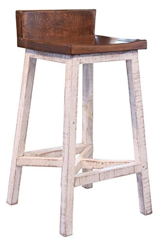 Astounding Burleson Home Furnishings Anton Farmhouse Solid Wood Distressed White 30 Inch Breakfast Bar Stool Andrewgaddart Wooden Chair Designs For Living Room Andrewgaddartcom