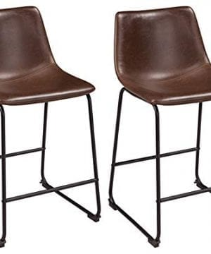 Ashley Furniture Signature Design Centiar Counter Height Barstool Set Of 2 Mid Century Modern Style Black Metal Base Brown Faux Leather Bucket Seat 0 300x360
