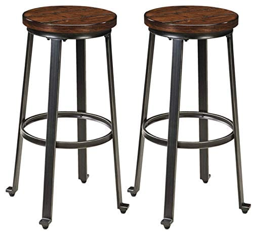 Phenomenal Signature Design By Ashley Challiman Bar Stool Pub Height Set Of 2 Rustic Brown Caraccident5 Cool Chair Designs And Ideas Caraccident5Info