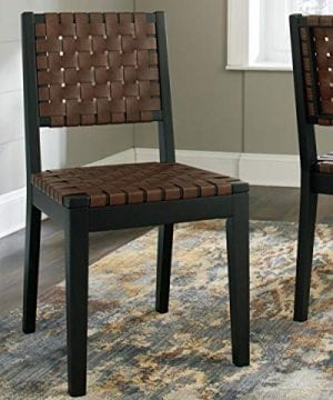 Ashley Furniture Signature Design Glosco Dining Chair Contemporary Style Woven Back Set Of 2 Black Brown 0 0 300x360