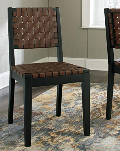 Ashley Furniture Signature Design Glosco Dining Chair Contemporary Style Woven Back Set Of 2 Black Brown 0 0