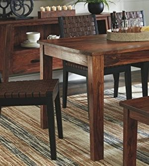 Ashley Furniture Signature Design Glosco Dining Chair Contemporary Style Woven Back Set Of 2 Black Brown 0 2 300x334