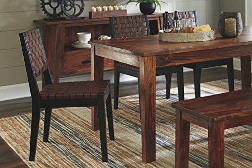 Ashley Furniture Signature Design Glosco Dining Chair Contemporary Style Woven Back Set Of 2 Black Brown 0 2