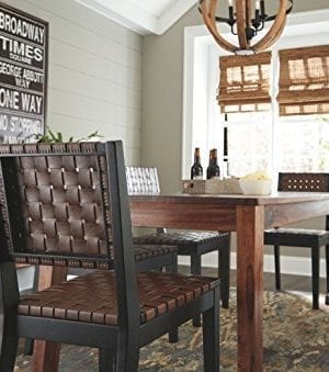 Ashley Furniture Signature Design Glosco Dining Chair Contemporary Style Woven Back Set Of 2 Black Brown 0 3 300x339
