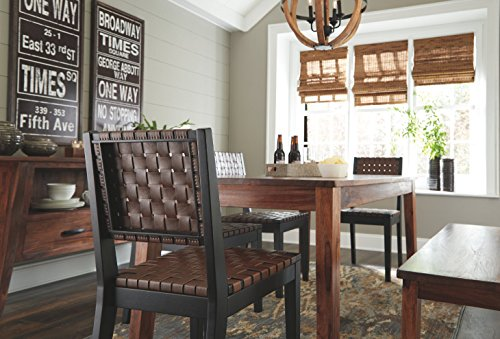 Ashley Furniture Signature Design Glosco Dining Chair Contemporary Style Woven Back Set Of 2 Black Brown 0 3