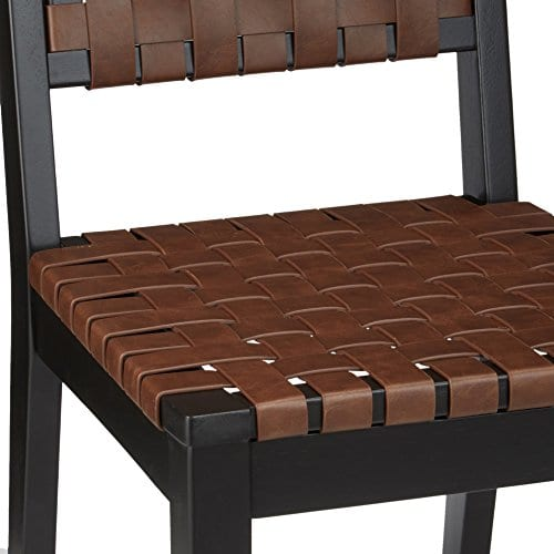 Ashley Furniture Signature Design Glosco Dining Chair Contemporary Style Woven Back Set Of 2 Black Brown 0 4