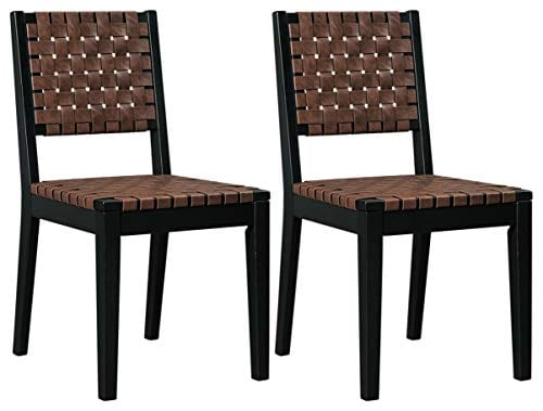 Ashley Furniture Signature Design Glosco Dining Chair Contemporary Style Woven Back Set Of 2 Black Brown 0