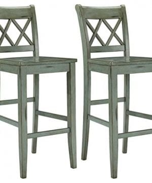 Ashley Furniture Signature Design Mestler Bar Stool Pub Height Vintage Casual Style Set Of 2 Blue Green 0 300x360