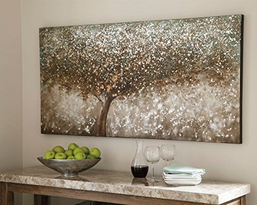 Ashley Furniture Signature Design OKeria Wall Art Contemporary Gallery Wrapped Canvas Tree Design In BrownGreenCream 0 0