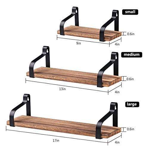 AshleyRiver Wall Mount Floating Shelves Set Of 3 Rustic Wood Wall Shelves For Bedroom Living Room Bathroom KitchenFarmhouse 0 2