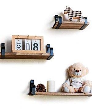 ASHLEYRIVER Rustic Floating Shelves Set of 3 Wood Wall Shelves for Bedroom,  Living Room, Bathroom, Kitchen,Farmhouse