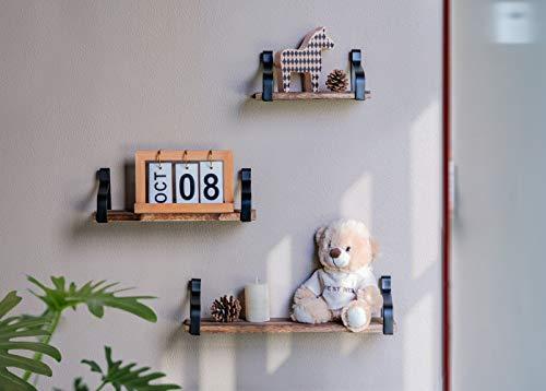 AshleyRiver Wall Mount Floating Shelves Set Of 3 Rustic Wood Wall Shelves For Bedroom Living Room Bathroom KitchenFarmhouse 0 5