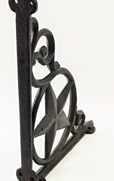 Aunt Chris Products Heavy Cast Iron Star Shelf Bracket LotSet Of 2 Wall Mount Indoor Or Outdoor Use Rustic Black Finish Old Western Primitive Design 0 0 228x360