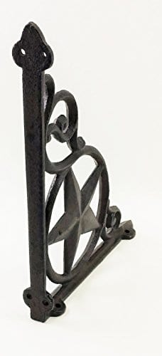 Aunt Chris Products Heavy Cast Iron Star Shelf Bracket LotSet Of 2 Wall Mount Indoor Or Outdoor Use Rustic Black Finish Old Western Primitive Design 0 0