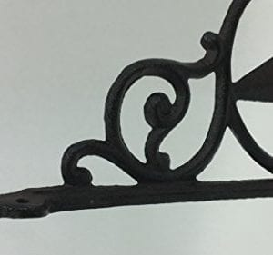 Aunt Chris Products Heavy Cast Iron Star Shelf Bracket LotSet Of 2 Wall Mount Indoor Or Outdoor Use Rustic Black Finish Old Western Primitive Design 0 2 300x281