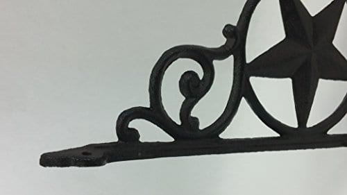 Aunt Chris Products Heavy Cast Iron Star Shelf Bracket LotSet Of 2 Wall Mount Indoor Or Outdoor Use Rustic Black Finish Old Western Primitive Design 0 2