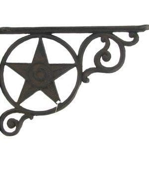 Aunt Chris Products Heavy Cast Iron Star Shelf Bracket LotSet Of 2 Wall Mount Indoor Or Outdoor Use Rustic Black Finish Old Western Primitive Design 0 300x350