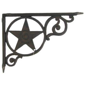 Aunt Chris Products Heavy Cast Iron Star Shelf Bracket LotSet Of 2 Wall Mount Indoor Or Outdoor Use Rustic Black Finish Old Western Primitive Design 0