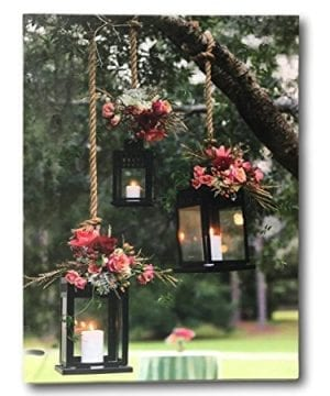 BANBERRY DESIGNS Lantern Picture Lighted Canvas Art LED Canvas Print With Glowing Black Lanterns In An Outdoor Scene 0 300x360