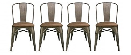 Btexpert Industrial Metal Antique Rustic Distressed Dining Side Chair Set Of 4 Farmhouse Goals