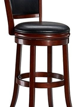 Ball Cast Jayden Wooden Swivel Bar Stool With Faux Leather Upholstery 29 Inch Brandy 0 256x360