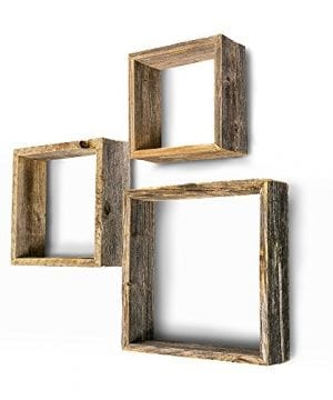 BarnwoodUSA Rustic Farmhouse Floating Box Shelves Made Of 100 Reclaimed And Recycled Wood Open Shadow Box Style To Display Other Pieces Or Show Off By Themselves Made In USA 0 300x360