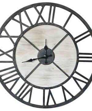 Barnyard Designs Rustic Vintage Decorative Metal And Wood Circular Wall Clock 20 Inch 0 300x360