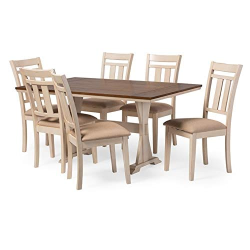 Baxton Studio Wholesale Interiors 7 Piece Roseberry Shabby Dining Set With Trestle Base 60 Fixed Top Dining Table OakDistressed White 0 0