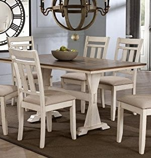 Baxton Studio Wholesale Interiors 7 Piece Roseberry Shabby Dining Set With Trestle Base 60 Fixed Top Dining Table OakDistressed White 0 300x314