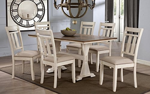 Baxton Studio Wholesale Interiors 7 Piece Roseberry Shabby Dining Set With Trestle Base 60 Fixed Top Dining Table OakDistressed White 0