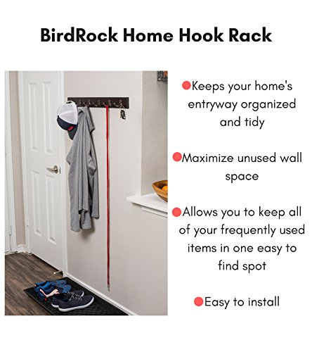 BirdRock Home Dual Hook Coat And Hat Rack 6 Dual Hooks 27 Inches Wall Mount Decorative Home Storage Entryway Foyer Hallway Bathroom Bedroom Rail Oil Rubbed Bronze Hooks Dark Brown Pine 0 0