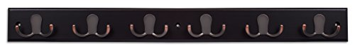 BirdRock Home Dual Hook Coat And Hat Rack 6 Dual Hooks 27 Inches Wall Mount Decorative Home Storage Entryway Foyer Hallway Bathroom Bedroom Rail Oil Rubbed Bronze Hooks Dark Brown Pine 0 5