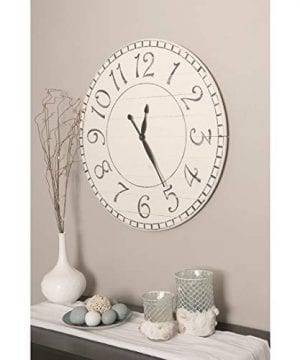 BrandtWorks Oversized Antique White Farmhouse Wall Clock 24 X 24 0 300x360