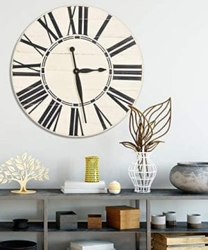BrandtWorks Riley Oversized Farmhouse 36 Wall Clock 36 X 36 Antique WhiteBlack 0 0 300x360
