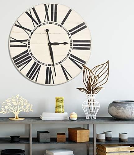 BrandtWorks Riley Oversized Farmhouse 36 Wall Clock 36 X 36 Antique WhiteBlack 0 0
