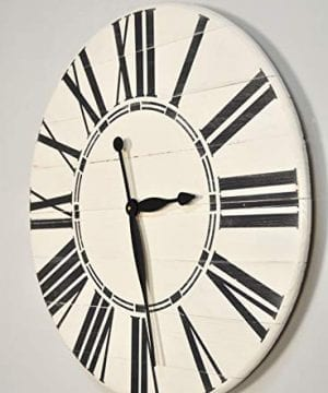 BrandtWorks Riley Oversized Farmhouse 36 Wall Clock 36 X 36 Antique WhiteBlack 0 1 300x360