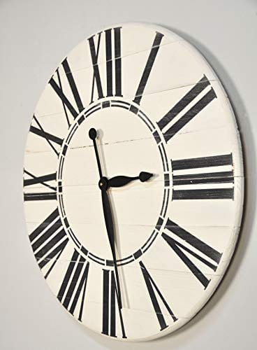 BrandtWorks Riley Oversized Farmhouse 36 Wall Clock 36 X 36 Antique WhiteBlack 0 1