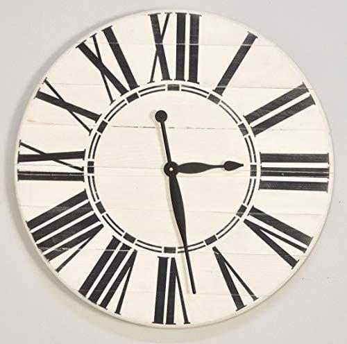 BrandtWorks Riley Oversized Farmhouse 36 Wall Clock 36 X 36 Antique WhiteBlack 0 2