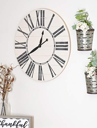 BrandtWorks Riley Oversized Farmhouse 36 Wall Clock 36 X 36 Antique WhiteBlack 0 3