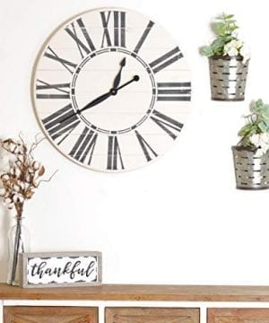 BrandtWorks Riley Oversized Farmhouse 36 Wall Clock 36 X 36 Antique WhiteBlack 0 300x360