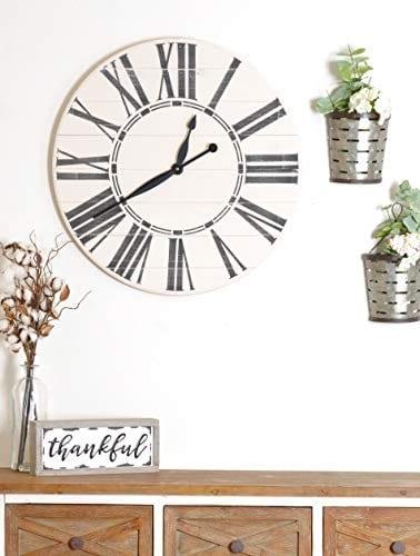 BrandtWorks Riley Oversized Farmhouse 36 Wall Clock 36 X 36 Antique WhiteBlack 0