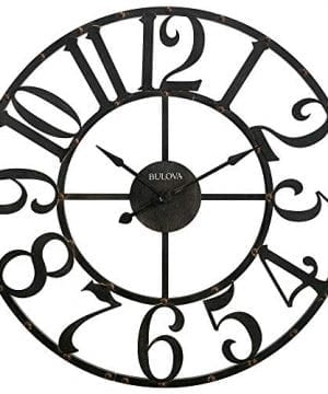 Bulova C4821 Oversize Gabriel Wall Clock Rustic Brown 0 300x360