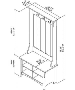 Bush Furniture Salinas Hall Tree With Storage Bench In Antique White 0 3 300x360
