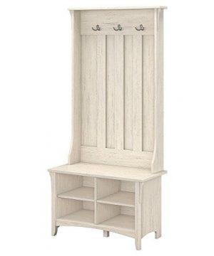 Bush Furniture Salinas Hall Tree With Storage Bench In Antique White 0 300x360